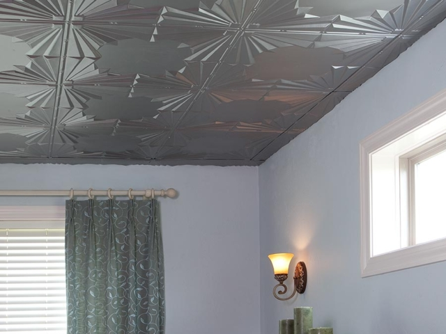 Art Deco ceiling in Argent Silver