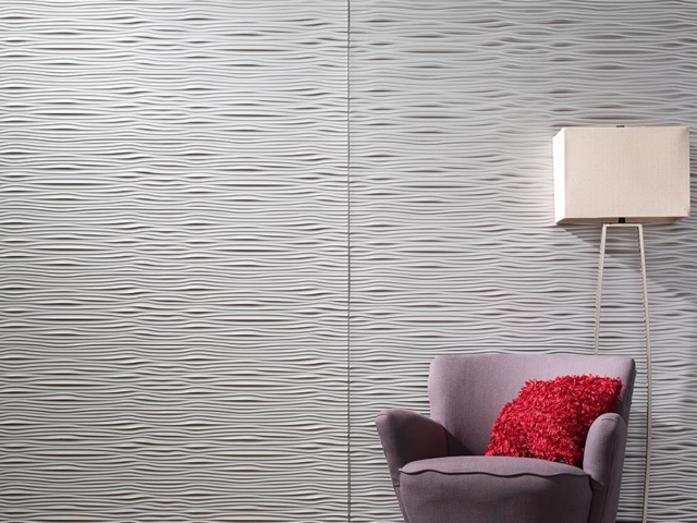 Waves wall panel in Argent Silver