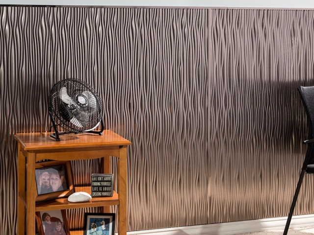 Waves wall panel in Brushed Nickel