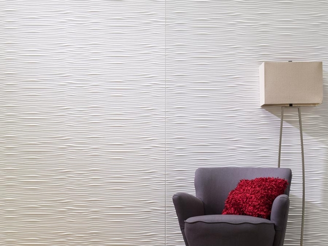 Waves wall panel in Gloss White